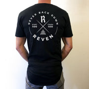 NEVER BACK DOWN SCOOP TEE - BLACK