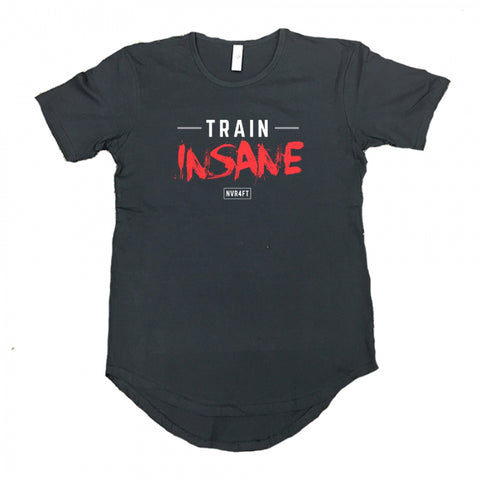 Never4Fit - Train Insane Red Scoop Tee - Black