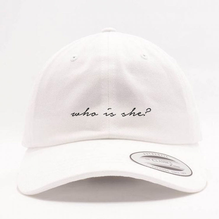 WHO IS SHE? DAD HAT - WHITE