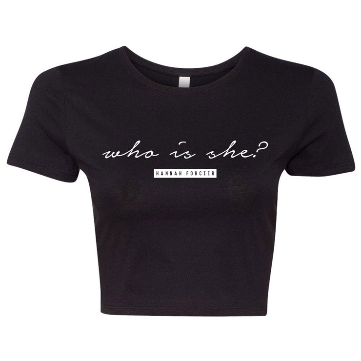 WHO IS SHE? CROP TEE - BLACK