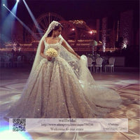 2016 luxury high end quality best stock Bridal Gowns Cathedral Train Appliques Lace Crystals Wedding Dresses Wedding Gown