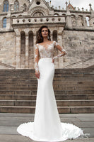 Mermaid Wedding Dresses  Illusion Neck Long Sleeves Court Train Button Back