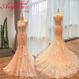 Blush Bridal Dress Long Sleeve Bolero Lace Mermaid Wedding Dresses 3D Flowers