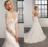 Custom Made Luxury Lace Mermaid Backless Wedding Dresses With Long Sleeves Beaded Court Train