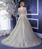 Sexy Long Half Sleeve Muslim Islamic Lace A Line Wedding Dresses With Beaded Wedding Gown