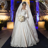 Ball Gown Bateau Appliques White Custom Luxury Brazil Bridal Dress