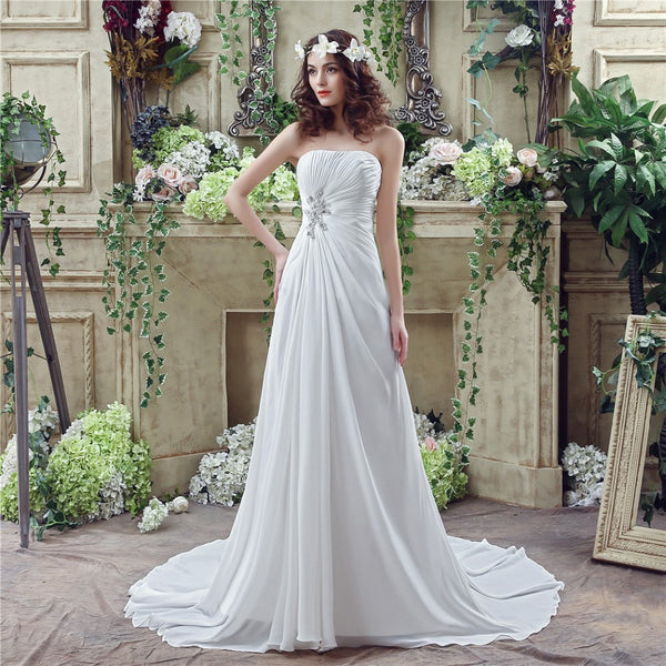In Stock A line Sweetheart Wedding Dress Chiffon Long Bridal Gowns Court Train