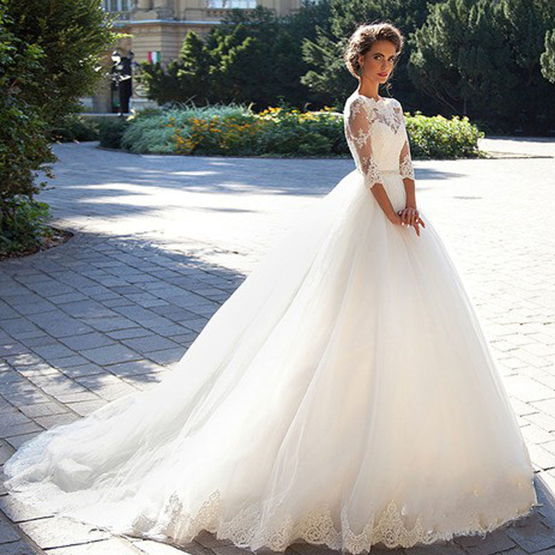 Tulle With Lace Applique Long Train Three Quarter Sleeve Wedding ...