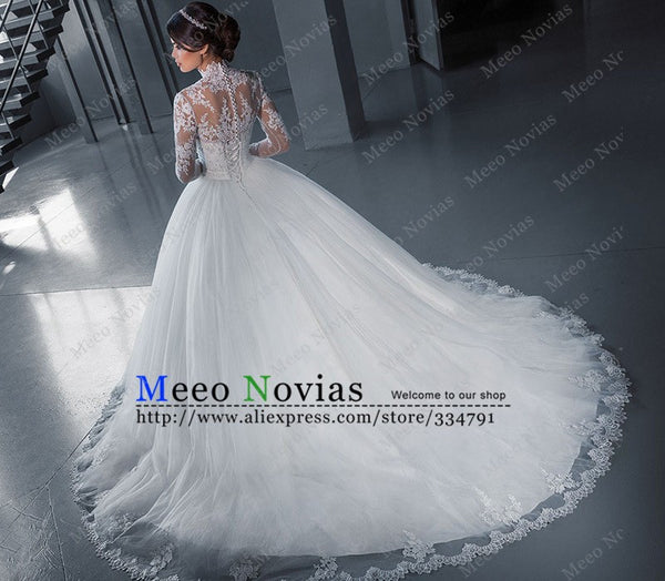 Princesa Ball Gown Long Sleeve Tulle Vintage Wedding Dress