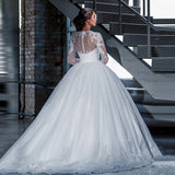 Long Sleeve Ball Gown Wedding Dress Custom Made Princess Lace