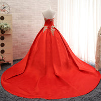 Long Satin Lace Strapless Plus Size Lace up Red China Gelinlik Vintage Bridal Gown