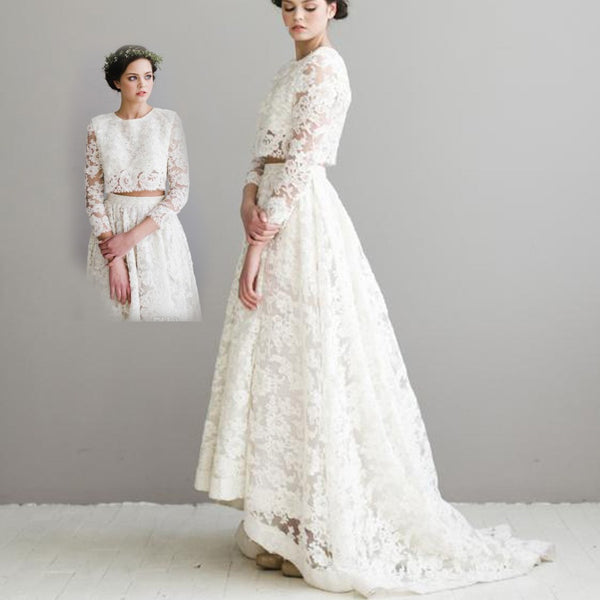 A line Casamento O Neck Long Sleeve White Appliqued Lace Wedding Dresses Two Pieces