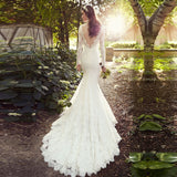 Vintage Low Back Wedding Gown Long Sleeve Sexy Back Lace