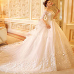White/Ivory Half Sleeves Beteau Long Train Lace Puffy Luxury Wedding Dress