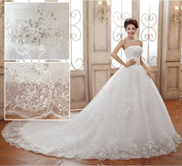 Luxury Princess Lace Embroidery Plus Size Long Train Bow Wedding Dresse