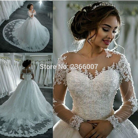 YiWuMenSa South Africa Sheer tulle Luxury long Sleeves Button Applique Vintage Wedding Gown