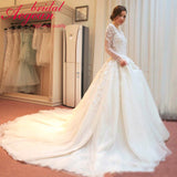 Long Sleeve Vestido de Noiva Lace Wedding Dresses Plus Size Customize size&color