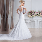 Elegant See Through Back Mermaid Wedding Dresses  Long Sleeve Lace Custom Made