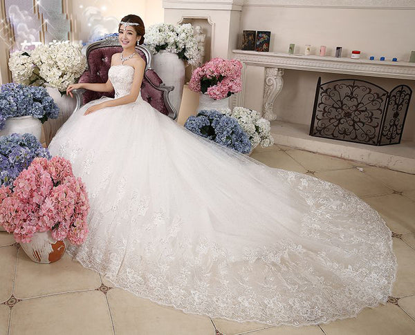 Autumn And Winter bride wedding dress slim tube top long trailing wedding dress train lace