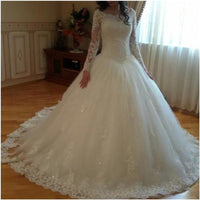 Long Sleeves Lace applique beading Wedding Dress Princess Style