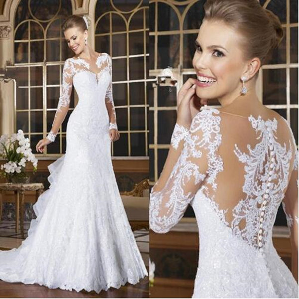 Mermaid Sexy Romantic Vestido de Noiva Lace Appliqued See Though Back Wedding Gown