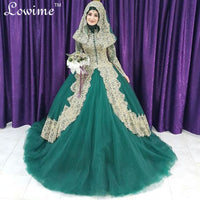 Green Muslim Wedding Dresses Hijab Long Sleeves Lace Bride Saudi Arabic Dresses