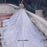 Stunning Long Sleeve Lace Wedding Dresses Luxury Beading Crystals Vintage Gown
