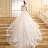 Vestido de Novia New Bride Princess White Lace Embroidery Beading Luxury Long Royal Train