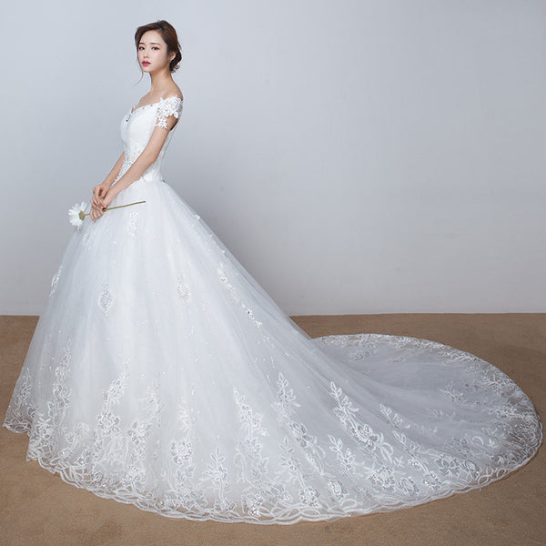 Lace Vintage Wedding Dress half sleeve bridal gowm simple strapless with long train high quality crystals