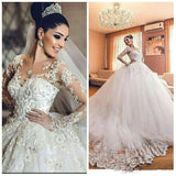 Vintage Wedding Dress Sheer Neck  Appliques Long Sleeves Wedding Dress Luxury Tulle
