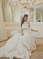Romantic Long Sleeve Lace Mermaid Wedding Dresses Custom Made Sheer Crew Neck Backless Bridal Fancy