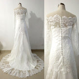 Vintage Lace Long Sleeve Wedding Dress Boat Neck Button Empire Wedding Dresses Robe Mariee Vestido De Noiva De Renda