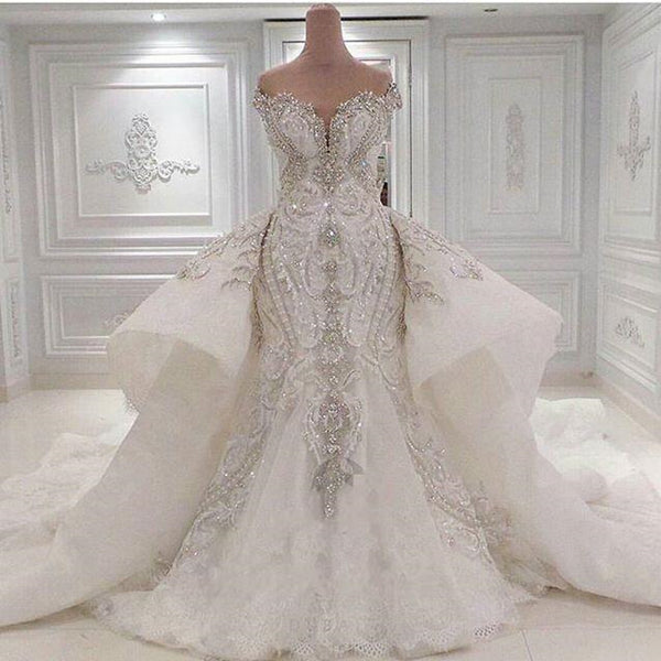 2016 Vestidos De Novia Sweetheart Luxury Beaded Crystal Mermaid Wedding Dresses Detachable Train Sequined Lace Bridal Gowns