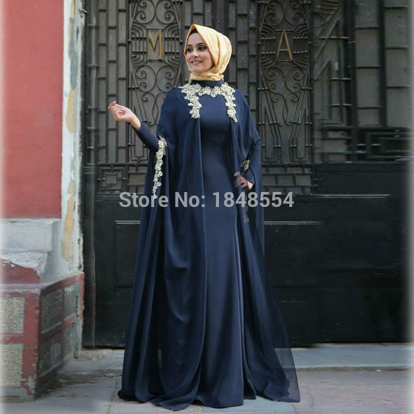 Deep Blue Floor Length Long Sleeves Chiffon Hijab Lace Muslim Dress