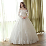 Long Sleeve Muslim Wedding Dress Princess Simple Bridal Gown