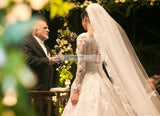 Luxury Vintage Arabic Pearls Muslim Wedding Dresses Plus Size  Full Long Sleeve Lace Appliqued