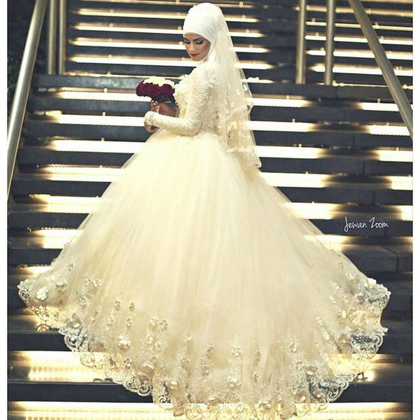 AnnBridal Custom Made Hijab Veil Handmade Flowers Beaded Lace Long  Sleeve Wedding Muslim Bridal Dress