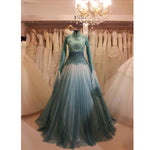 Mint Green Muslim Wedding Dress High Neck Long Sleeves Lace Beads A-line Full Length