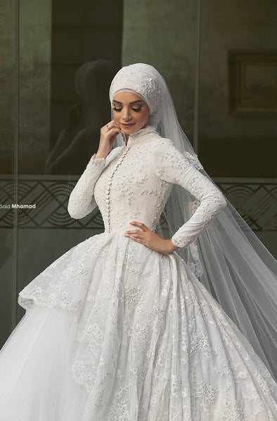 New Arrival Charming White Lace Applique Long Sleeves High Neck Ball Gown Formal Wedding Dresses Muslim Hijab