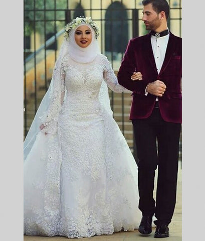 Arab Hijab Saudi Arabia Muslim Wedding Dresses Long Sleeve White Lace Sexy Beads Mermaid Bridal Dress Modest Bride Wedding Gowns