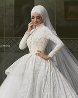 Said Mhamad Princess Arab Hijab Arabic Muslim Lace Long Sleeve Wedding Dresses