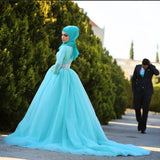 Turquoise Lace Ball Gown Muslim Wedding Dresses With Hijab  Long Sleeve Wedding Gowns Crystal Beaded O neck