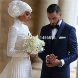 Arabic High Neck Long Sleeve Lace Muslim Wedding Dress