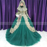 Arabic Emerald Green Muslim Ball Gown Wedding Dress Gold Lace Applique High Neck Long Sleeve Bridal Gown Hijab