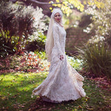 Vestido De Noiva Curto Muslim Wedding Dress With Hajab Lace Mermaid Long Sleeves Beaded Pearls Arabic Bridal Gown