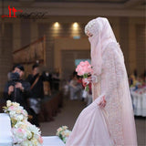 New Muslim Arabic Mermaid Chiffon Wedding Dresses High Neck Long Bridal Gowns With Sash Beaded Crystal