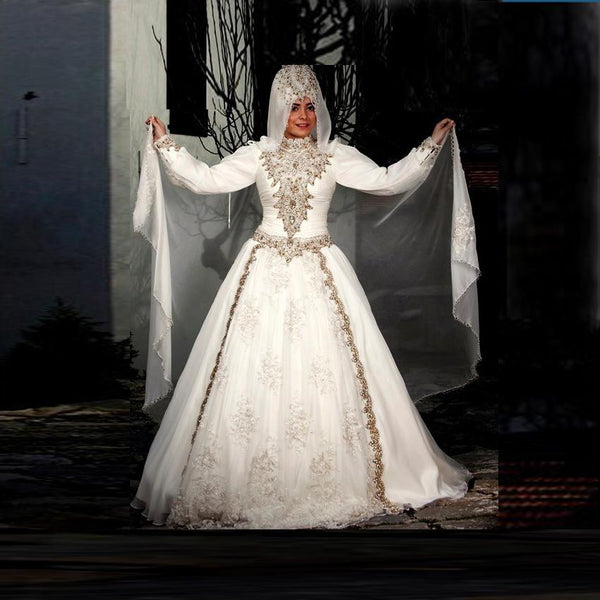 Muslims Wedding Dress Beading Bridal Dress Appliques Wedding Gowns High Neck Long Sleeve