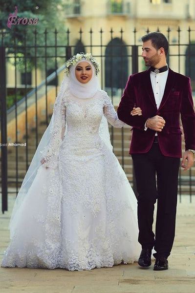 High Collar Long Sleeve Muslim Wedding Dress With Lace Appliques Beads