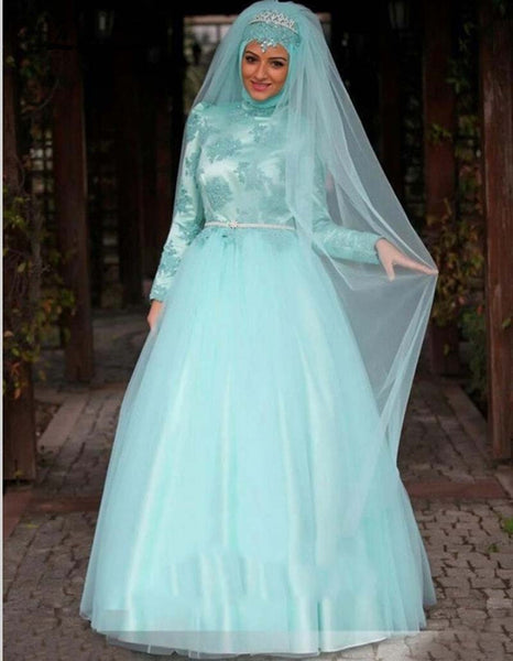 Arab Long Sleeve Muslim Hijab Islamic Wedding Dress Ball Gown Wedding Gown