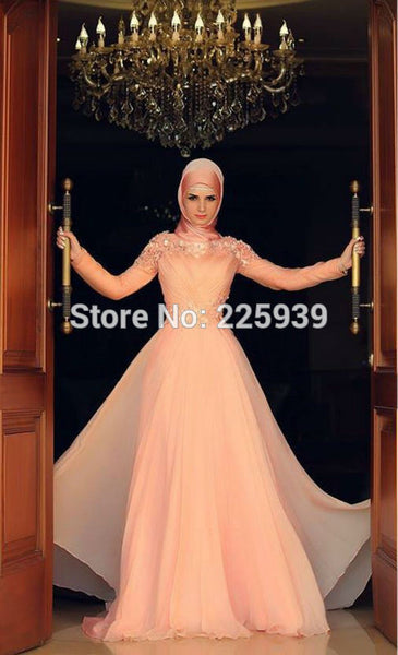 Abaya In Dubai Pink Bridal Gowns High Neck Appliques Flowers Shiny Beaded Muslim Long Sleeves Popular Chiffon Wedding Dresses